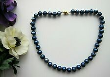 """10-11 mm Natural Tahitian Style Black Blue Pearl Necklace - 18"""" Long."""