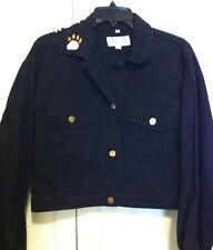 St. John Womens Jacket Size  M  Embroided Black Denim