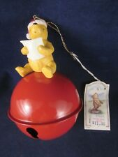 Disney Classic Pooh Christmas Ornament Sitting on Large Jingle Bell 1990s CHIP