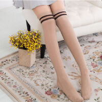 Soft Over The Knee Long Socks Thigh Women Knit Stocking Striped Thigh High