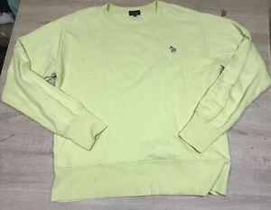 Paul Smith Jeans Sweatshirt Zebra Logo Crew Neck Size Large Yellow Green