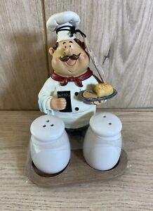 NEW Chef Monsieur Gastro Ceramic Salt & Pepper Pots Chef Holder Gift