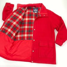 VTG Woolrich Women's Red Wool Coat w/ Plaid Lining Full Zip/Snap • MEDIUM