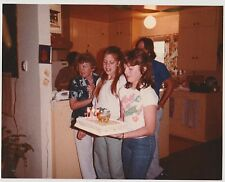 Vintage 80s Photo Young Girls In Family Pic Presenting Birthday Cake
