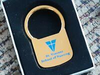 Barlow ST VINCENT HOSPITAL SCHOOL OF NURSING TOLEDO OHIO Gold Keychain W Box VTG
