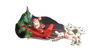 Vintage Santa Clause Sleigh With Reindeer Christmas Hollow Plastic Tree Gifts