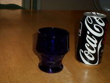 Vintage, 1960's DARK BLUE Drinking Glass, TOTAL OF # 5 GLASSES -- MEDIUM SIZED