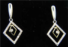 NEW 14k GOLD Modern Genuine DIAMOND Earrings
