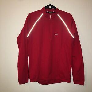 Louis Garneau Large Red Long Sleeve Cycling Jersey Reflective Shirt Top 21-1353