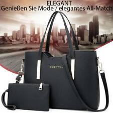 Schwarz Leder Damentasche Shopper Handtasche Schultertasche Damentaschen Groß
