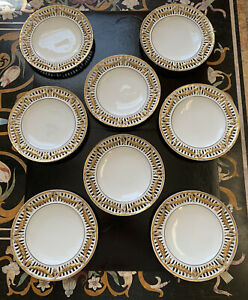 Union T Czechoslovakia Reticulated Gilded Antique Set Of 8 Plates, RARE!