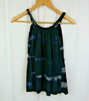 Sweet Pea by Stacy Frati Tie Dye Sleeveless Shirt Tank Top Black Gray Sz Small