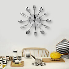 Modern Unique Aluminum Spoon Fork Wall Clock Cutlery Kitchen Art Silver