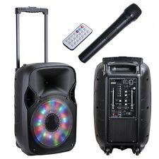 "12"" Rechargeable Party Speaker PA System +Bluetooth+USB/TF/FM+RGB Disco Light"