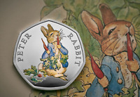 COLOUR 2018 PETER RABBIT 50p Coin Brilliant Uncirculated QUALITY with decal
