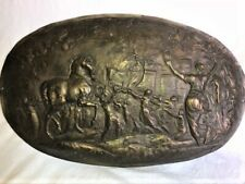 Antique Victorian Classical Brass Relief Plaque With Figures & Horse