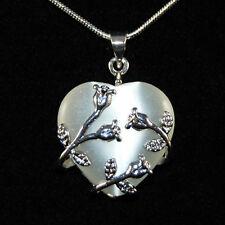 Katzenauge Herz Antik Silber Rosen Kette Verzierung Rauchweiss Halskette