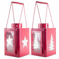 Set of Two Large 37cm Red Metal Christmas Tree & Star Cut-Out Candle Lanterns