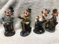 🤡Vintage 🎪 Lot 4 Different Clown Figurines Clowning Around Figure Ceramic Set