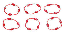 6 Pack Russian Red Clear Beads/ One Size Fits All Hand Bracelet(Zx226/cl4)