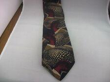 Men's Neck Tie: Large Duck Water Fowl Theme Eddie Bauer Hand Printed Italy ~Wear