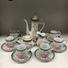 Beautiful Limoges China 15 Piece Tea Set Hand-Painted Pink Flower Coffee Choclat