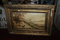 Antique Victorian Oil Painting On Board Signed 1924 Snow Deer Water House Berlin