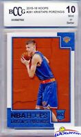 2015/16 Panini Hoops #261 Kristaps Porzingis ROOKIE BECKETT 10 MINT Mavericks