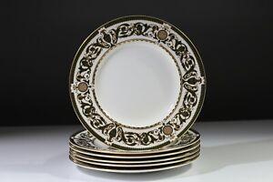Royal Worcester Windsor Pattern Green Gilded (8 inch) Side Salad Plates  x6