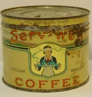 Vintage 1930s SERV-WELL GRAPHIC COFFEE TIN ONE POUND DES MOINES IOWA MINNESOTA