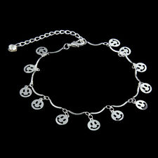 Fashion Gold Crystal Gem Round Smile Plate Chain Foot Bracelet Ankle Anklet Gift