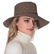 Eric Javits Fashion Designer Womens Headwear Hat - Rain Floppy - Tan Check 59e3ff83dd5c