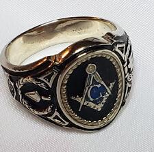 Masonic Ring 14K White Gold with Enamel Size 11