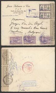 Bolivia 1951 - Registered Cover La Paz to Malines Belgium - Customs V501