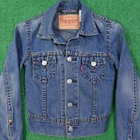 LEVIS TYPE 1 ICONIC JACKET COTTON BLEND MEDIUM WASH DENIM JEAN JACKET WOMENS XS