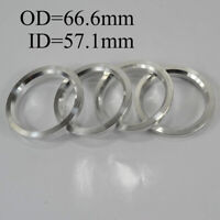 4pcs Car 66.6mm OD to 57.1mm ID Aluminum Wheel Hub Centric Bore Ring Spacer Fill
