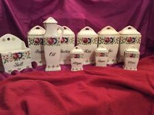 Vintage ceramic kitchen floral canisters made in Germany/Elsa-#3823, 10 pieces