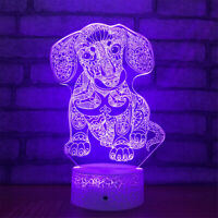 Happy Dog 3D Night Light 7 Color Change LED Desk Lamp Touch Room Decor