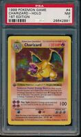 PSA 7 CHARIZARD 1999 Pokemon 1ST EDITION THICK STAMP SHADOWLESS #4/102 Holo NM