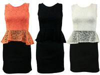 Womens Ladies Sleeveless Flocked Lace Peplum Bodycon Evening Party Dress  8-14