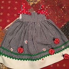 Rare Editions Girls Ladybug Navy Gingham Sun Dress Red/Polka Dot Bows Size 18 Mo