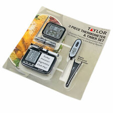 Taylor 3 Piece Food Thermometer Timer Tools Set Precision Roasting Baking