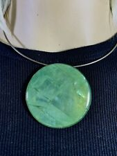 LARGE Mother of Pearl & Glass Pendant W/ Sterling Silver Collar/Choker Necklace