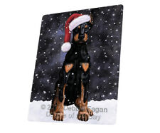 Let it Snow Christmas Holiday Doberman Dog Tempered Cutting Board Large Db169