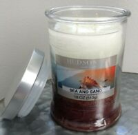 Hudson 43 SEA & SAND Scented 2 Wick Glass Jar Candle 18 OZ Soy Blend Multi-Color