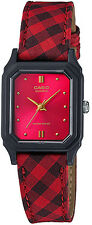 Casio Women's Analog Display Red Dial Leather Watch Lq142lb-4a