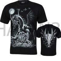 Men Gothic T-shirt Dragon On Skulls  Glow In Dark Both Side Print By WILD