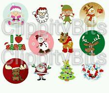 """50 x 1"""" Inch Pre Cut Bottle Cap Images Christmas Xmas Santa Mix 1 Pictures bows"""