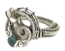 Adjustable Malachite Steampunk Ring in Sterling Silver & Stainless Steel