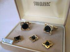 Swank Cufflinks & Studs, Gold-Tone & Onyx, Smaller Size, Classy Design, NOS